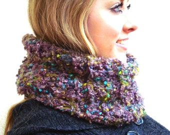 Handmade knitted Cowl, Speckled, Soft, Cozy, brown, green, pink, spotted yarn, lightweight, Infinity scarf by Wcards