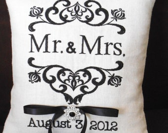 Damask Mr. & Mrs. Ring Bearer Pillow (RB108)