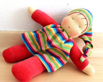 Paula, little cosy waldorf inspired doll ,  cuddle doll, Babies first friend.