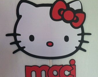 Hello Kitty Personalized Cake topper, hello kitty birthday