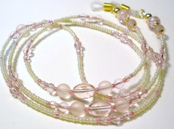 Beaded Eyeglass Chain  Delicate Ivory -  Pink Blush  Eyeglass Lanyard Peeper Keepers