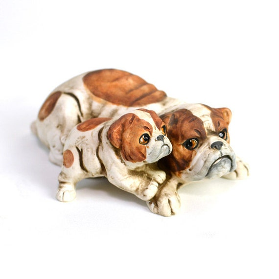 Bulldog Mom & Puppy Figurine - Ceramic, UCTCI Japan - Vintage Home Decor Collection