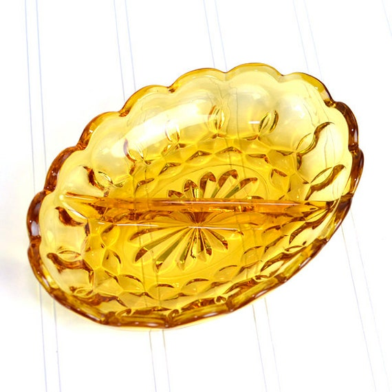 Amber Glass Divided Relish Dish by Anchor Hocking, Fairfield Pattern - Vintage Home Kitchen Decor or Serving Use