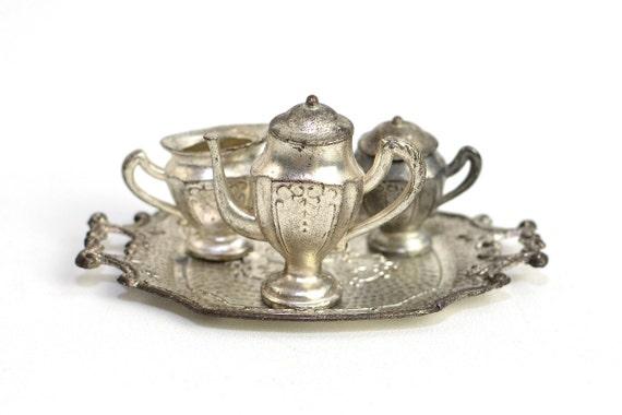 RESERVED Occupied Japan Miniature Metal Tea Set - Teapot, Creamer & Sugar Bowl on Matching Tray, Gorgeous Patina - Antique Home Decor