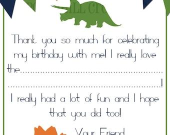 INSTANT DOWNLOAD - Printable DinosaurThank You Card - Blue, Orange, Green - Digital Design