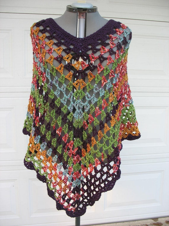 Plus Size Crochet Poncho Cover Up Wrap For Teens And Women