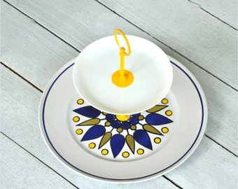 Yolked: 2 Tier Cake Stand, Yellow Mod Geometric Design