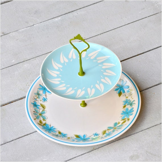 Golly: 2 Tier Cake Stand, Vintage China Cupcake Stand, Green Blue Aqua White