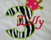 Ari's Angels Personalized Girls Birthday Zebra Shirt Embroidered, Appliqued, Monogrammed