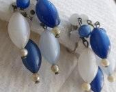 Screw Back Earrings 40s 50s Vintage Blue and White Plastic Beaded Dangles