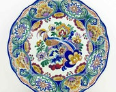 RESERVED FOR STEVE - Ceramic wall plate  from the Boch factory - Beautiful  plate  with bird and flowers - Polychrome Boch Belgium