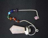 New Healing Rose Quartz Faceted Pendulum With 7 Chakras Chain  ET A11/2