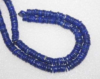 Natural AAA Quality Lapis 5 to 6mm Flat Tyre Gemstone Beads 14 Inches SA007