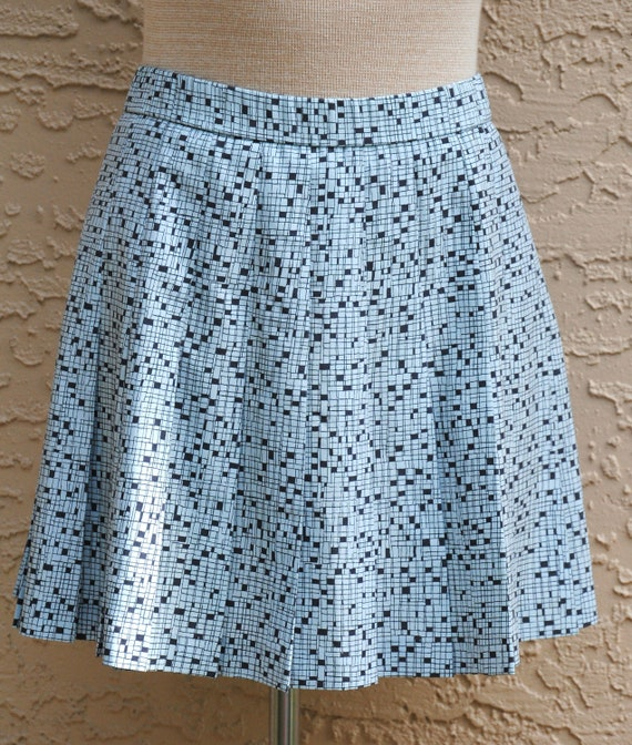 Vintage Lily's of Beverly Hills Blue Patterned Pleated Tennis Skirt Size 10