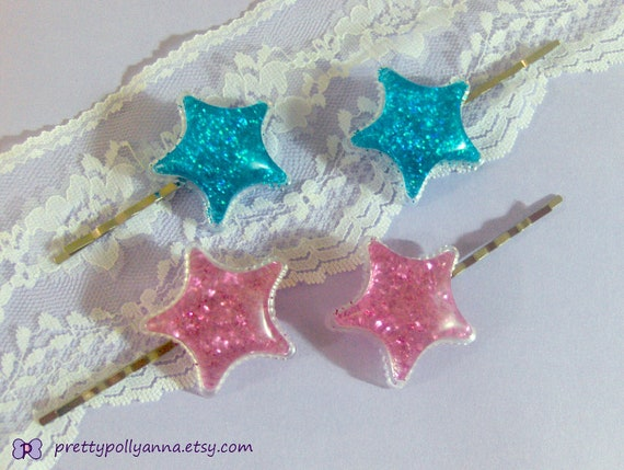 Fairy Kei Glitter Sparkle Star Bobby Pin Hair Clips - Baby Pink & Sea Blue
