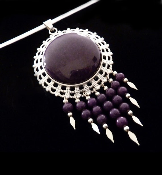 Large Pendant Necklace With Beaded Dangles - Dangle Necklace - Purple Mountain Jade - Beaded Choker