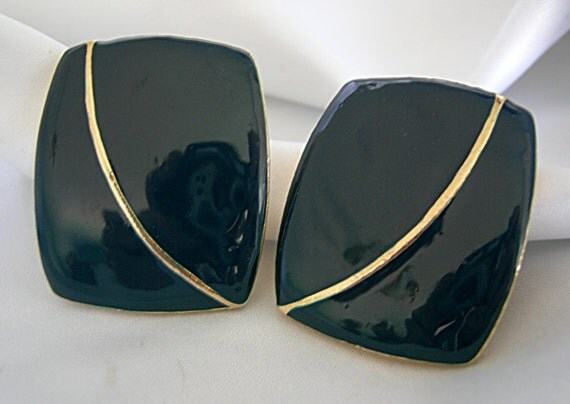Large Dark Midnight Blue and Gold Tone Enameled Earrings For Pierced Ears - Unsigned - Vintage