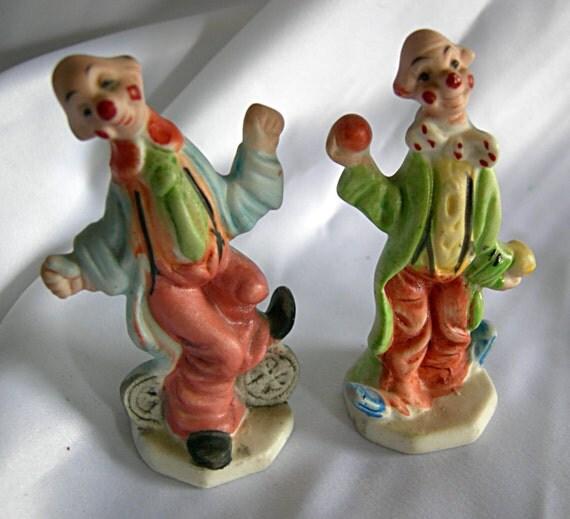2 Small Porcelain Clowns - Hallmark Fine Quality LEGO JAPAN - Vintage