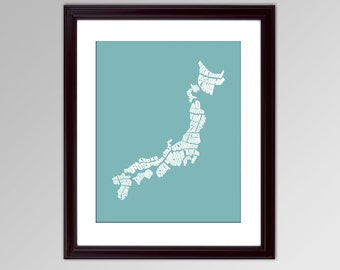 Japan Word Map - A typographic word map of the Japan