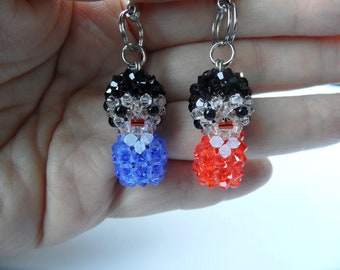 Hiacinth and Sapphire Couple Kokeshi Doll - Swarovski Crystal Cell Phone Charm