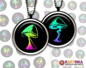 NEON MAGIC MUSHROOMS - 1 inch and 1.5 inch circles Digital Collage Sheet Printable Download for pendants magnets