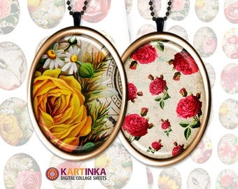 VINTAGE BLOSSOM 30x40mm 18x25mm 13x18mm Digital Collage Sheet Printable download Images for bezel cabs glass & resin pendants Earrings Rings