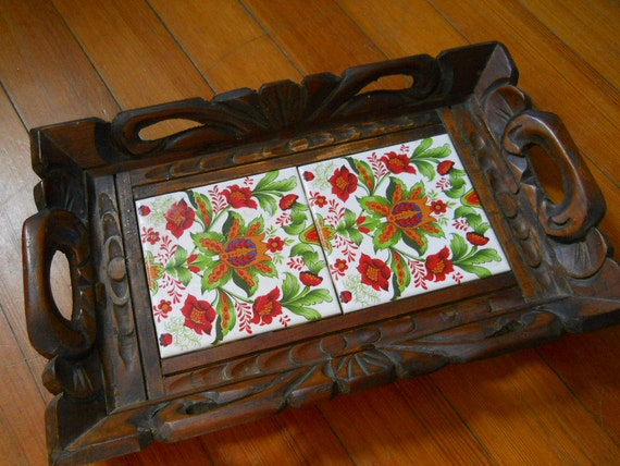 Vintage Mexican Ceramic Tile Tray Handcarved By