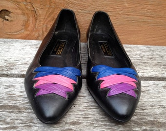 Dolcis 90s Black Leather Flats with Pink, Blue and Purple Accents - Size 7.5M ladies Pointy Toe