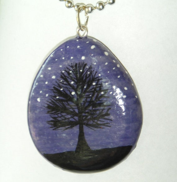 Violet Starry Night Treescape Silhouette Necklace