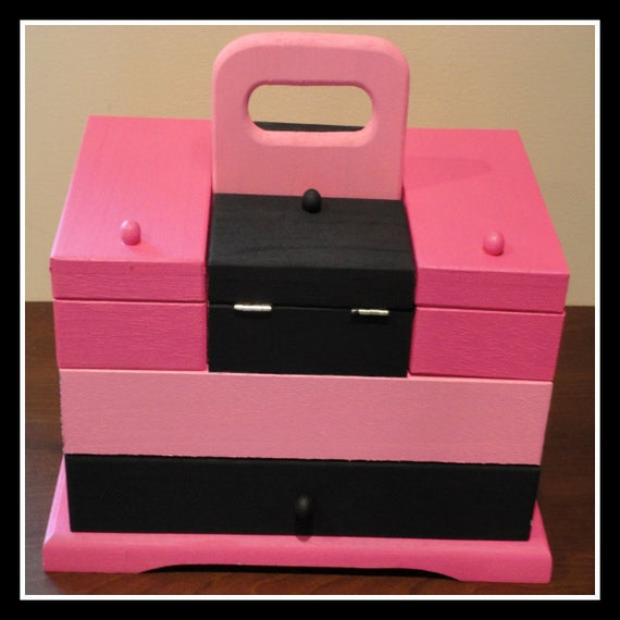 Jewelry and Keepsake Box Pink and Black - trinkets, compartment, add any word or name, perfect storage, hiding place