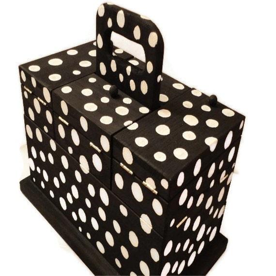 Jewelry and Keepsake Box, Black and White Polka Dot, Scrapbook, Make-up storage compartments, handmade, craft