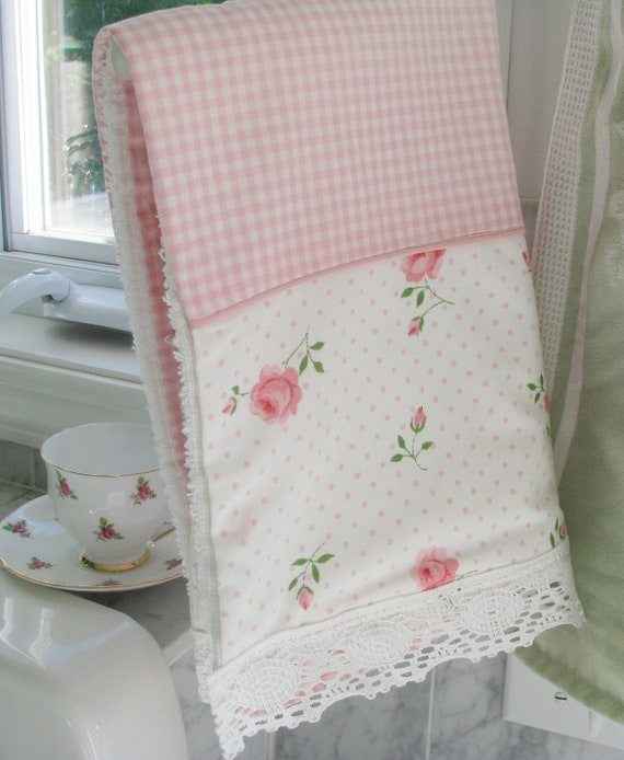 NEW kitchen tea TOWEL of VINTAGE roses and pink checks  lace handmade boutique gift