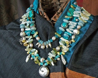 Glorious Tribal Tibetan/Indian Turquoise and Pearl waterfall necklace