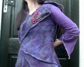 SALE Felted Blackberry Purple Waistcoat Jacket Top with Button On Pixie Hood