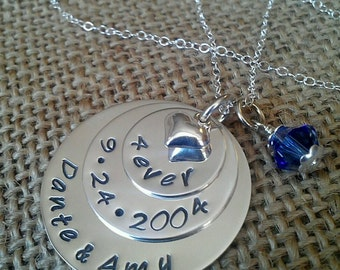 Hand Stamped Wedding Necklace - Custom Anniversary Necklace - Stamped Evermore
