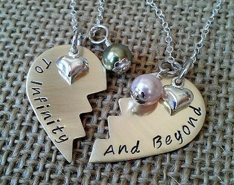 To Infinity and Beyond, Brass Broken Heart, Best Friends Necklace, Mother Daughter Necklace with Swarvoski Pearls and Silver Heart Charm