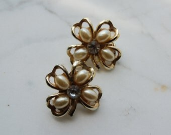 Vintage Brooches- pair of 4 leaf clover pins  with faux pearls and rhinestone.St. Patrick's Day -unsigned.  2 pieces.1 inch square