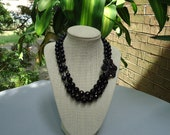 Two Strand Chunky Black Pearl with Large Rhinestone Brooch Beaded Necklace