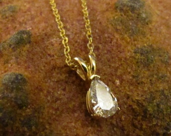 Diamond Necklace : Pear Cut Diamond Necklace in 18K Yellow Gold, Half Carat Solitaire Diamond, Vintage Jewelry