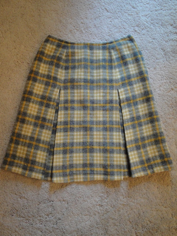 RESERVED Vintage Pendleton Pure Virgin Wool Plaid Skirt Fully Lined Yellow Gray Ivory Small