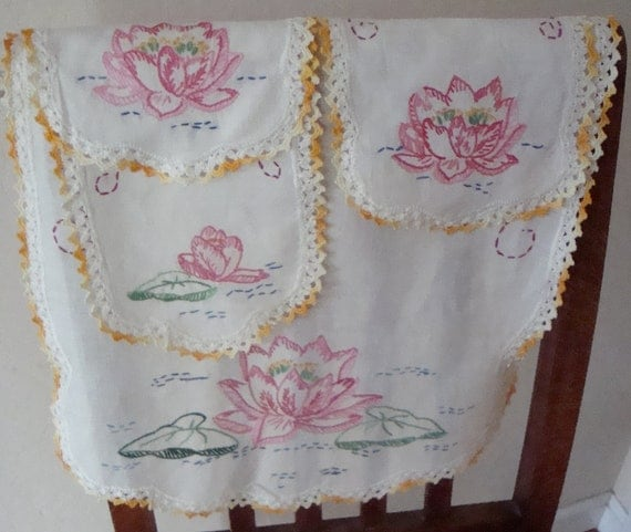 Vintage embroidered dresser scarves--matching set of four pieces with crocheted trim