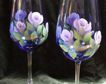 Hand Painted Wine Glasses (Set of 2) - Lavender and White Roses on Cobalt Blue Glass