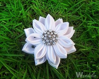 White Kanzashi Flower Bridal Hairclip with Rhinestone center