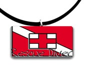 Diver down, Dive, Rescue Scuba diver, handmade glass tile pendant, red white and black, ocean waves, underwater