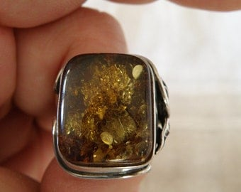 Art Nouveau Sterling Silver Amber Ring - Size 8 U.S.