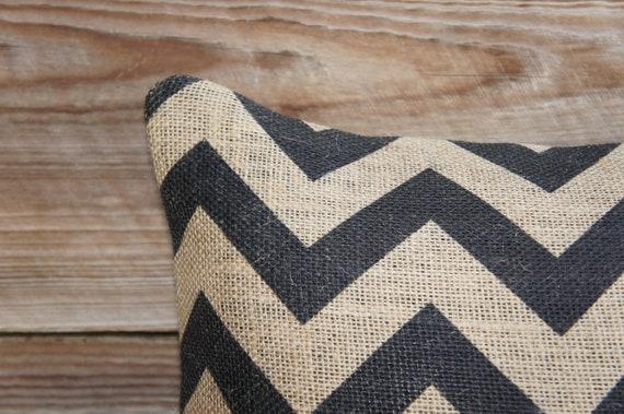 Decorative Throw Pillow of Black Chevron, Burlap Pillow, Accent Pillow, Zig Zag, Cushion, Industrial Decor