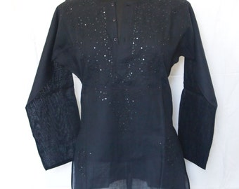 Womens Black Tunic Top Kurata Pure Cotton Brown Embroidered Nature Theme