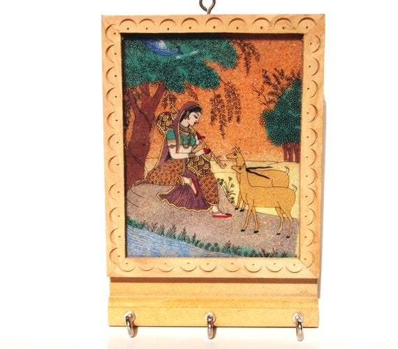 Wooden Key Holder Unique Stone Painting Of Women By