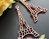 CH-ME-01501 - Nickel Free, Color enameled, Flat Eiffel Tower charm, Dusty pink, 4 pcs