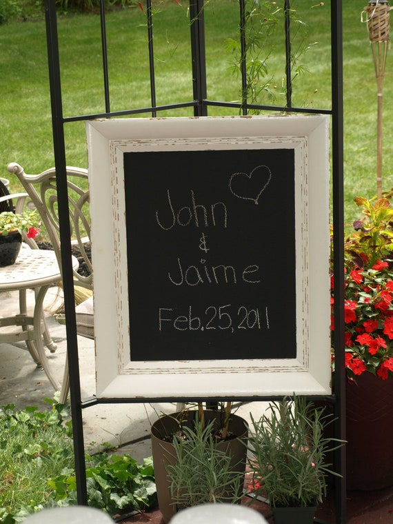 Chalkboard in White Painted Distressed Antique Frame